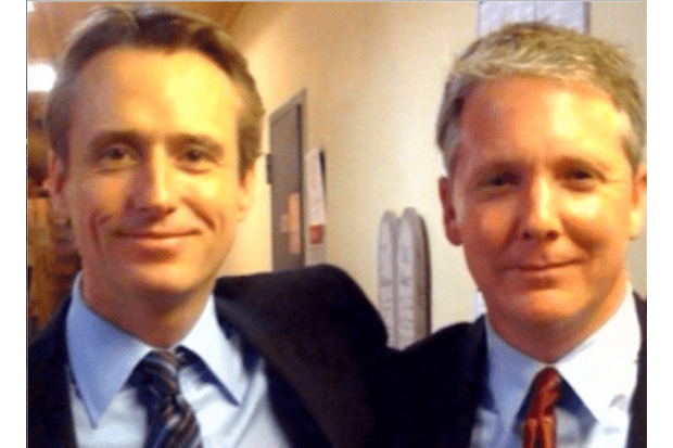 Linus Roche and Tim Wilson on the set of Law & Order