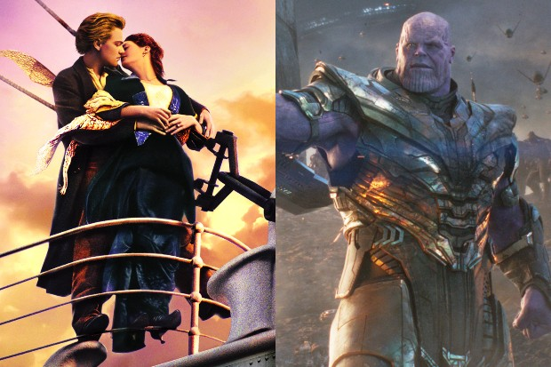 Leonardo DiCaprio and Kate Winslet in Titanic; Josh Brolin in Avengers: Endgame (Sky, Disney)