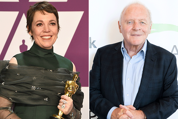Olivia Colman and Anthony Hopkins, Getty