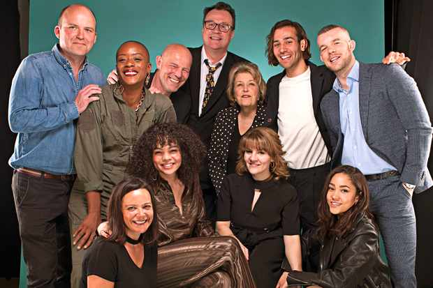The cast and crew of Years and Years at the Radio Times Festival. Standing: Rory Kinnear, T'Nia Miller, director Simon Cellan Jones, Russell T Davies, Anne Reid, Maxim Baldry and Russell Tovey. Sitting: executive producer Nicola Shindler, Lydia West, Ruth Madeley and Jade Alleyne (Radio Times)