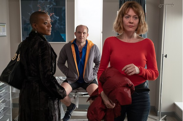 WARNING: Embargoed for publication until 00:00:01 on 28/05/2019 - Programme Name: Years and Years - TX: n/a - Episode: Years and Years episode 4 (No. n/a) - Picture Shows: Celeste (T'NIA MILLER), Stephen (RORY KINNEAR), Elaine (RACHEL LOGAN) - (C) Red Productions - Photographer: Matt Squire