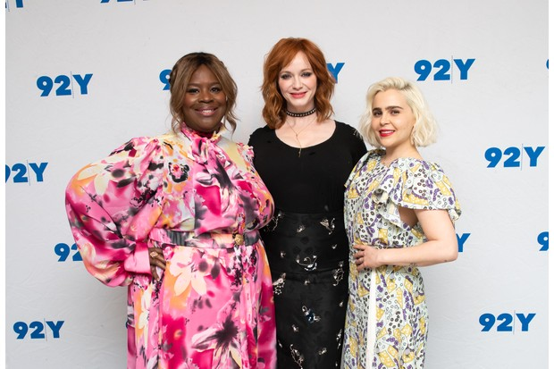 "NEW YORK, NEW YORK - JANUARY 24: (L-R) Retta, Christina Hendricks and Mae Whitman visit 92Y to discuss ""Good Girls"" at 92nd Street Y on January 24, 2019 in New York City. (Photo by Noam Galai/Getty Images)"
