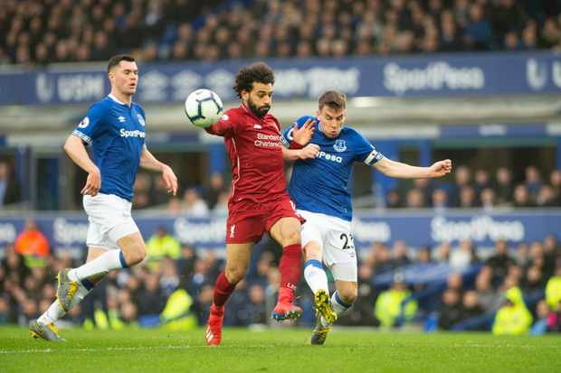 Mohammed Salah of Liverpool battles with Seamus Coleman of Everton FC during the Premier League match between Everton and Liverpool at Goodison Park, Liverpool on Sunday 3rd March 2019. (Photo by Pat Scaasi/MI News/NurPhoto via Getty Images)