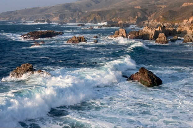 Pacific Ocean Waves Crash On The Rocky Coastline At Garrapata State Beach Near Carmel, Big Sur, California. (Photo By: Education Images/UIG via Getty Images)
