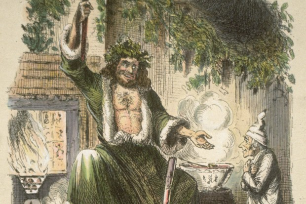 The Ghost of Christmas Present visits Scrooge in an original illustration from A Christmas Carol