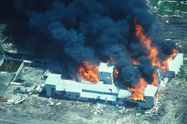 fire consuming David Koresh-led Branch Davidian cult compound