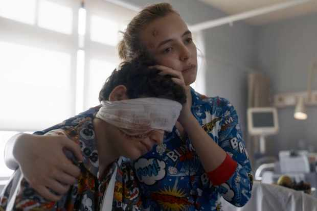 Killing Eve's Villanelle comforts Gabriel on his hospital bed