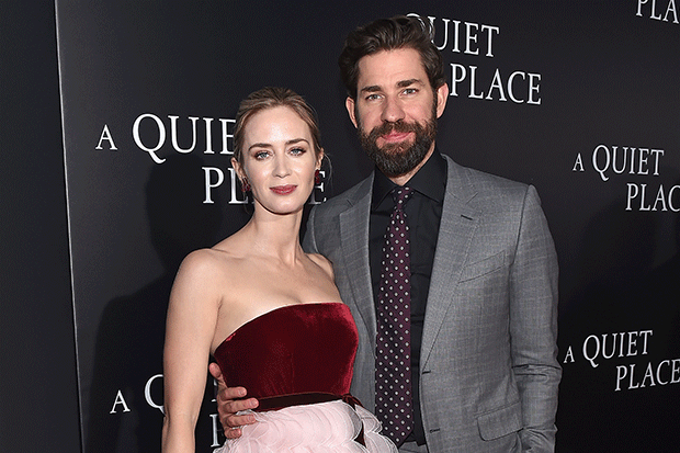 Emily Blunt and John Krasinski at the A Quiet Place premiere, Getty