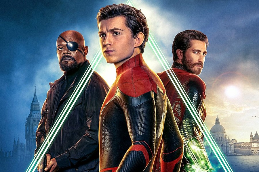 Samuel L Jackson, Tom Holland and Jake Gyllenhaal in the Spider-Man: Far From Home poster (Sony, Marvel)