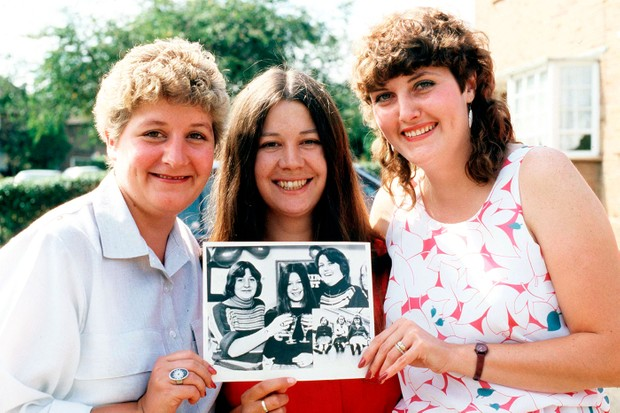 Sue (far right) with friends Jackie Bassett and Lynn Johnson (centre) who died in 2013
