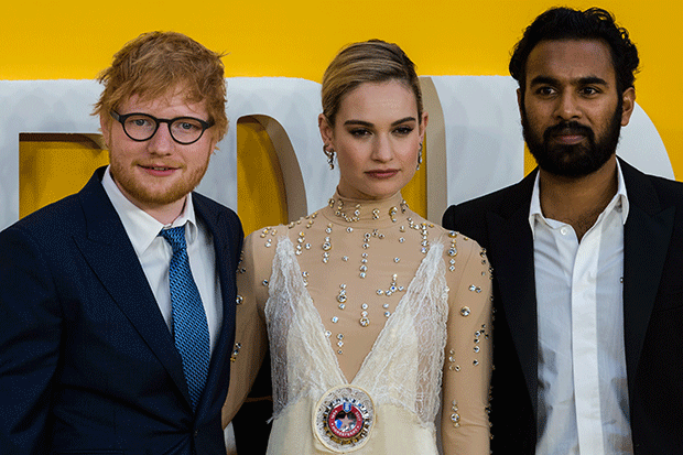 Ed Sheeran, Lily James and Himesh Patel at the Yesterday premiere in London's Leicester Square