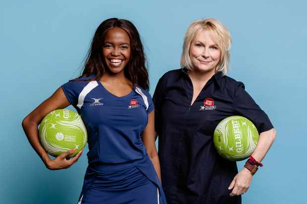 Oti Mabuse and Jennifer Saunders - Team Captains Allstar Netball (BBC)