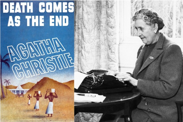 Agatha Christie at her typewriter and the cover of the book Death Comes as the End