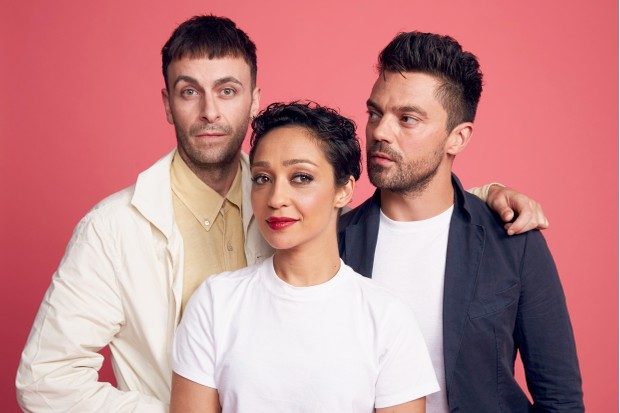 SAN DIEGO, CA - JULY 21: (L-R) Joe Gilgun, Ruth Negga, and Dominic Cooper from AMC's 'Preacher' pose for a portrait at the Getty Images Portrait Studio powered by Pizza Hut at San Diego 2018 Comic Con at Andaz San Diego on July 21, 2018 in San Diego, California. (Photo by Smallz & Raskind/Getty Images for Pizza Hut)