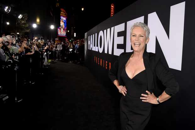 """LOS ANGELES, CA - OCTOBER 17:  Jamie Lee Curtis arrives at the premiere of Universal Pictures' """"Halloween"""" at the TCL Chinese Theatre on October 17, 2018 in Los Angeles, California.  (Photo by Kevin Winter/Getty Images)"""