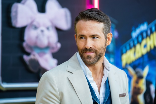 "NEW YORK, NEW YORK - MAY 02: Ryan Reynolds attends the ""Pokemon Detective Pikachu"" U.S. Premiere at Times Square on May 02, 2019 in New York City. (Photo by Mark Sagliocco/FilmMagic)"
