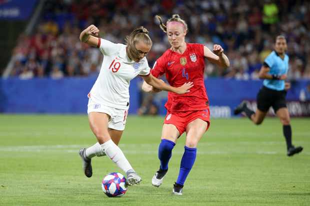 LYON, FRANCE - JULY 2: Georgia Stanway of England, Becky Sauerbrunn of USA during the 2019 FIFA Women's World Cup France Semi Final match between England and USA at Groupama Stadium on July 2, 2019 in Decines near Lyon, France. (Photo by Jean Catuffe/Getty Images)