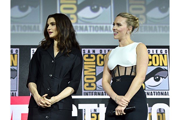 SAN DIEGO, CALIFORNIA - JULY 20: Rachel Weisz and Scarlett Johansson of Marvel Studios' 'Black Widow' at the San Diego Comic-Con International 2019 Marvel Studios Panel in Hall H on July 20, 2019 in San Diego, California. (Photo by Alberto E. Rodriguez/Getty Images for Disney)