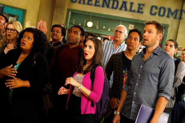 "COMMUNITY -- ""History 101"" Episode 401 -- Pictured:(l-r) Gillian Jacobs as Britta, Donald Glover as Troy, Alison Brie as Annie, Chevy Chase as Pierce, Danny Pudi as Abed, Joel McHale as Jeff -- (Photo by: Trae Patton/NBC/NBCU Photo Bank via Getty Images)"