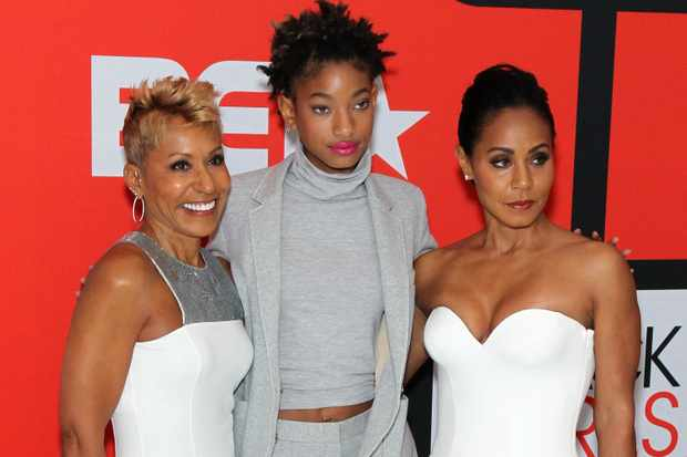 "NEWARK, NJ - MARCH 28:  (L-R) Adrienne Banfield-Jones, Willow Smith, and Jada Pinkett Smith attend the BET's ""Black Girls Rock!"" Red Carpet sponsored by Chevrolet at NJPAC ? Prudential Hall on March 28, 2015 in Newark, New Jersey.  (Photo by Bennett Raglin/BET/Getty Images for BET)"