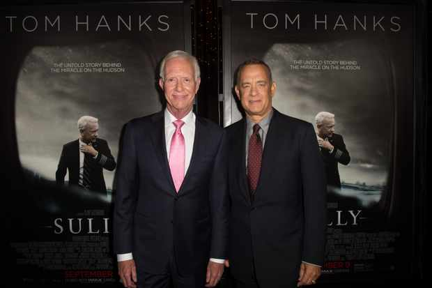 LOS ANGELES, CA - SEPTEMBER 08:  Chesley 'Sully' Sullenberger (L) and actor Tom Hanks attend the screening of Warner Bros. Pictures' 'Sully' at Directors Guild Of America on September 8, 2016 in Los Angeles, California.  (Photo by Emma McIntyre/Getty Images)