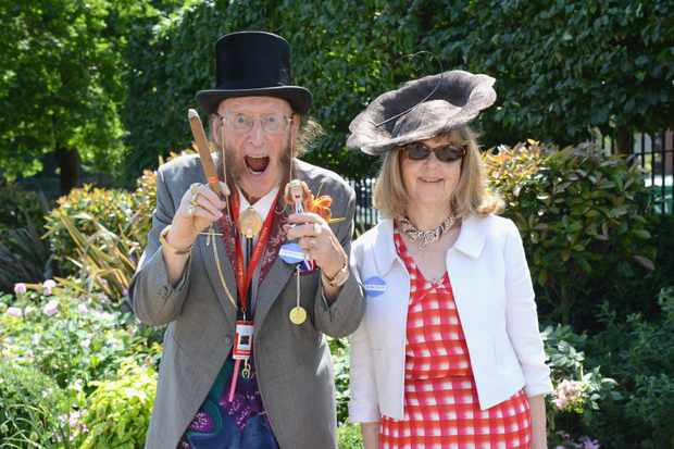ASCOT, ENGLAND - JUNE 20:  John McCririck and Jenny McCririck attend day 1 of Royal Ascot at Ascot Racecourse on June 20, 2017 in Ascot, England.  (Photo by Kirstin Sinclair/Getty Images for Ascot Racecourse)