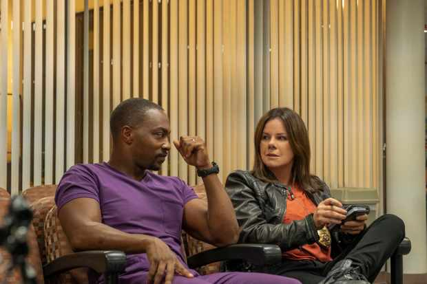 Anthony Mackie as Paul and Marcia Gay Harden as Lt. Lewis in POINT BLANK