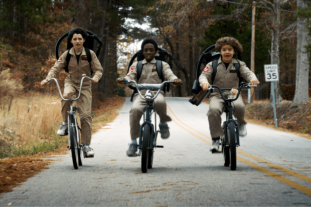 Finn Wolfhard as Mike, Caleb McLaughlin as Lucas and Gaten Matarazzo as Dustin in Stranger Things 2