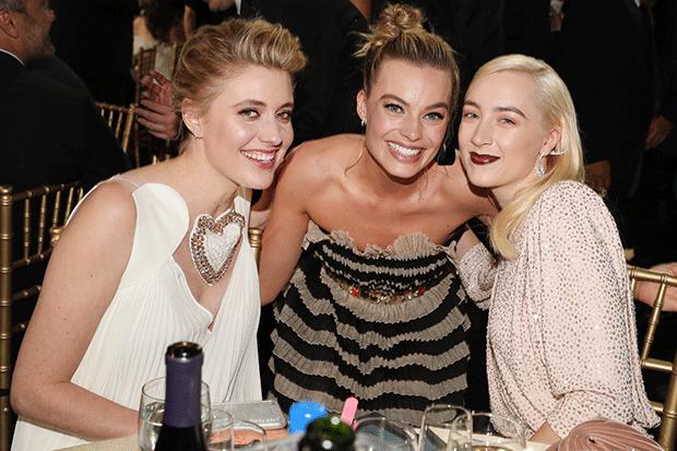 Greta Gerwig, Margot Robbie and Ladybird star Saoirse Ronan at the 2018 Critics' Choice Awards, Getty