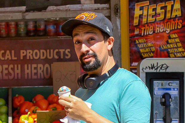 Lin-Manuel Miranda on the set of In The Heights, Getty