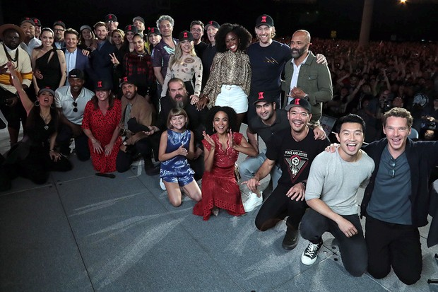 SAN DIEGO, CALIFORNIA - JULY 20 Cast and Filmmakers at the San Diego Comic-Con International 2019 Marvel Studios Panel in Hall H on July 20, 2019 in San Diego, California..Photo: Eric Charbonneau
