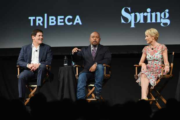 "NEW YORK, NY - SEPTEMBER 23:  Mark Cuban, Daymond John and Barbara Corcoran speak onstage at the Tribeca Talks Panel: 10 Years Of ""Shark Tank"" during the 2018 Tribeca TV Festival at Spring Studios on September 23, 2018 in New York City.  (Photo by Dia Dipasupil/Getty Images)"