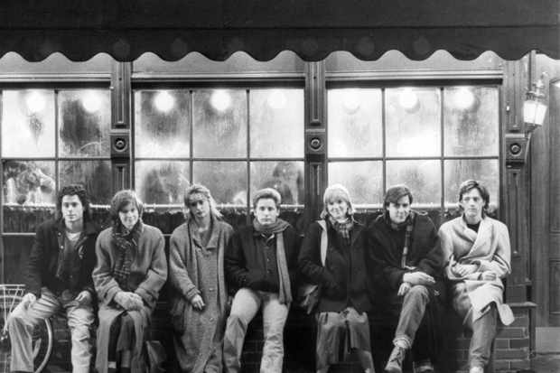 The cast of 'St. Elmo's Fire', directed by Joel Schumacher, 1985. Left to right: Rob Lowe, Ally Sheedy, Demi Moore, Emilio Estevez, Mare Winningham, Judd Nelson and Andrew McCarthy. (Photo by Silver Screen Collection/Getty Images)