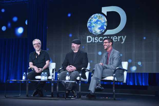 PASADENA, CA - JANUARY 08:  (L-R) TV personalities Adam Savage, Jamie Hyneman and Rich Ross, President, Discovery Channel speak onstage during Discovery's 'MythBusters' panel at Discovery Communications TCA Winter 2015 at The Langham Huntington Hotel and Spa on January 8, 2015 in Pasadena, California.  (Photo by Alberto E. Rodriguez/Getty Images for Discovery Communications)