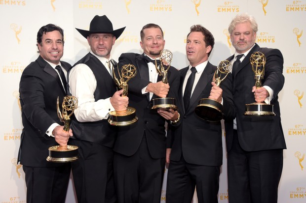 """LOS ANGELES, CA - SEPTEMBER 12: (L-R) David Reichart, Todd Stanley, Steven Wright, Breck Warwick and Matt Fahey, winners of the awards for cinematography - reality programming for """"Deadliest Catch"""", pose in the press room during the 2015 Creative Arts Emmy Awards at Microsoft Theater on September 12, 2015 in Los Angeles, California. (Photo by Jason Kempin/Getty Images)"""