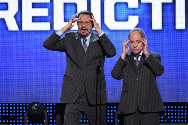 LAS VEGAS, NV - JUNE 22:  Penn Jillette (L) and Teller of the comedy/magic team Penn & Teller perform during the 2016 NHL Awards at The Joint inside the Hard Rock Hotel & Casino on June 22, 2016 in Las Vegas, Nevada.  (Photo by Ethan Miller/Getty Images)