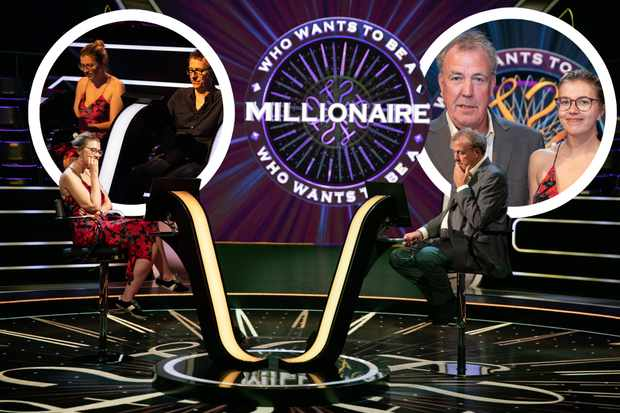 Kimberley Bond and Jeremy Clarkson on set of Who Wants to Be a Millionaire