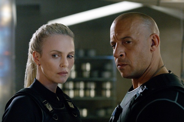 Vin Diesel as Dominic Toretto, Charlize Theron as Cipher in The Fate of the Furious