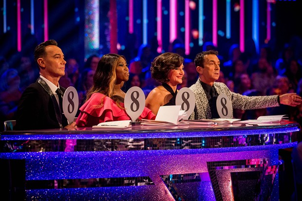 Programme Name: Strictly Come Dancing 2019 - TX: 28/09/2019 - Episode: Strictly Come Dancing 2019 - TX2 LIVE SHOW (No. n/a) - Picture Shows:  Craig Revel Horwood, Motsi Mabuse, Dame Shirley Bassey, Bruno Tonioli - (C) BBC - Photographer: Guy Levy