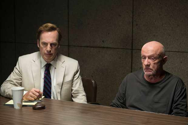 Better Call Saul Series 01 Episode 06 Five-0 Bob Odenkirk as Jimmy McGill and Jonathan Banks as Mike Ehrmantraut. © Sony Pictures Television Inc. All Rights Reserved.