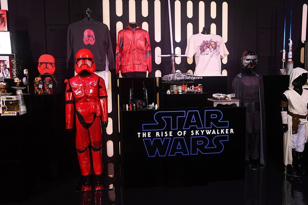 Star Wars products on display at the global live-stream event at Pinewood Studios revealing new Star Wars merchandise, on September 26, 2019. The live-stream event takes place ahead of the global product launch on Triple Force Friday happening October 4, 2019.