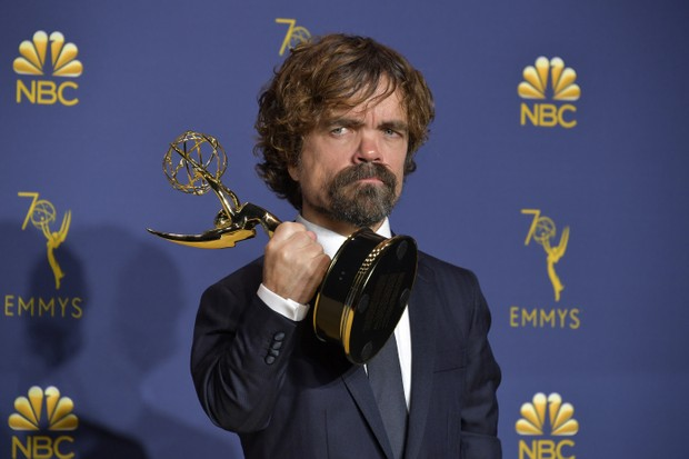 LOS ANGELES, CA - SEPTEMBER 17: Peter Dinklage accepts the Outstanding Supporting Actor in a Drama Series award for 'Game of Thrones' during the 70th Emmy Awards on September 17, 2018 in Los Angeles, California. (Photo by Neilson Barnard/FilmMagic)