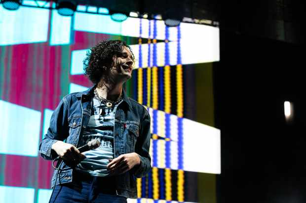 STRADBALLY, IRELAND - AUGUST 31: Matthew Healy of The 1975 performs on stage during Electric Picnic Music Festival 2019 at  on August 31, 2019 in Stradbally, Ireland. (Photo by Kieran Frost/Redferns)