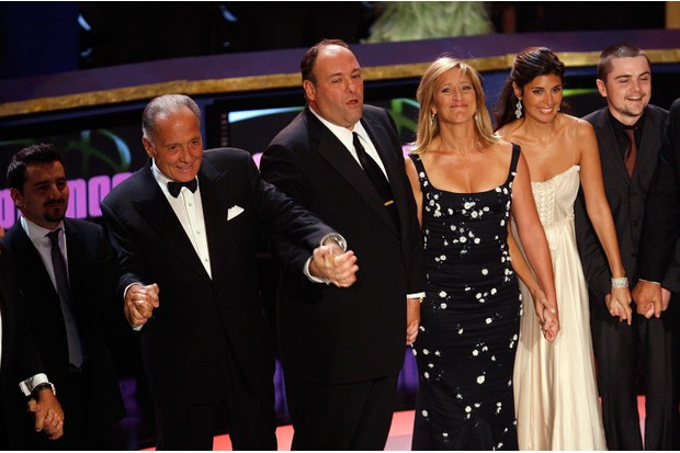 LOS ANGELES, CA - SEPTEMBER 16: The cast of the Sopranos accepts the Outstanding Directing in a Drama Series award onstage during the 59th Annual Primetime Emmy Awards at the Shrine Auditorium on September 16, 2007 in Los Angeles, California. (Photo by Vince Bucci/Getty Images)