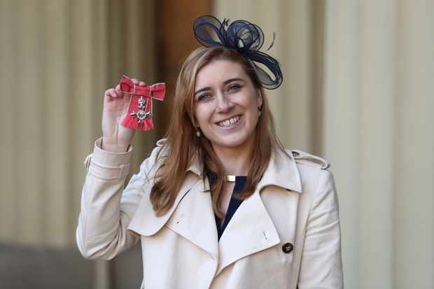 LONDON, ENGLAND - DECEMBER 12: Libby Clegg after she was awarded an MBE by the Duke of Cambridge during an Investiture ceremony at Buckingham Palace on December 12, 2017 in London, United Kingdom. (Photo by Andrew Matthews - WPA Pool/Getty Images)