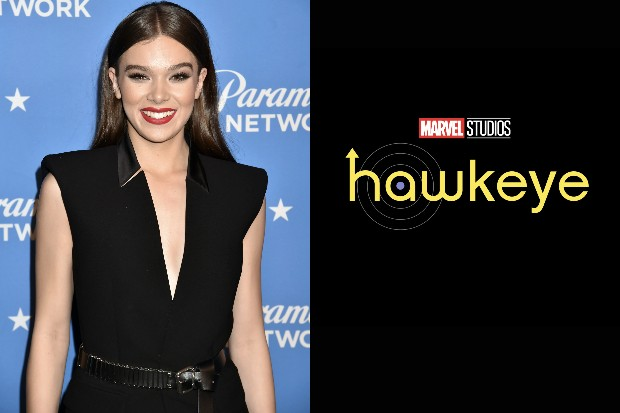 Hailee Steinfeld (Getty) with the logo for Jeremy Renner's Hawkeye series (Marvel)