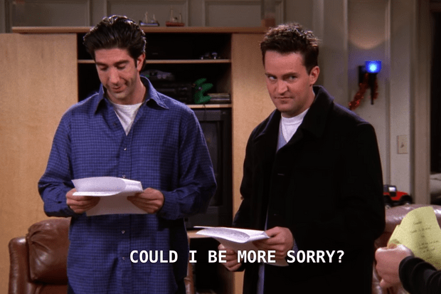 """Friends: """"Could I be more sorry?"""""""