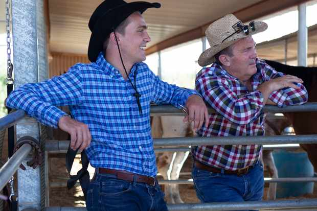 From Hungry Bear Media   BRADLEY WALSH AND SON: BREAKING DAD Ep2 Arizona Wednesday 9th January 2018 on ITV   Pictured: (l-r) Barney and Bradley Walsh turn cowboy as they head to cowboy college in Arizona  Bradley & Barney saddle up for a wild west adventure to Arizona! The trip sees them ride Harleys through a desert ghost town, jet ski by Lake HavasuÕs London Bridge before becoming real-life horsemen at a Cowboy College.  (C) Hungry Bear Media   For further information please contact Peter Gray 0207 157 3046 peter.gray@itv.com    This photograph is © Hungry Bear Media and can only be reproduced for editorial purposes directly in connection with the  programme BRADLEY WALSH AND SON: BREAKING DAD or ITV. Once made available by the ITV Picture Desk, this photograph can be reproduced once only up until the Transmission date and no reproduction fee will be charged. Any subsequent usage may incur a fee. This photograph must not be syndicated to any other publication or website, or permanently archived, without the express written permission of ITV Picture Desk. Full Terms and conditions are available on the website www.itvpictures.com