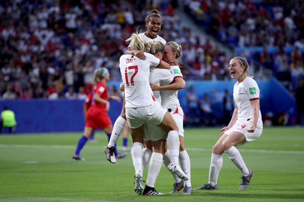 England celebrate during the Women's World Cup