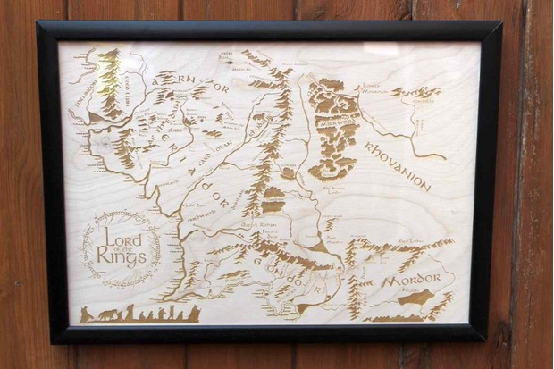 Middle Earth wooden map